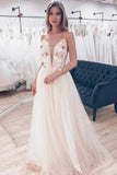 A-line Spaghetti-straps Tulle Floor Length Prom Dress With Appliques D431