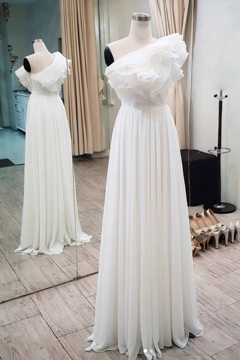 Elegant Ruffles One Shoulder Long Prom Dress, Chiffon Long Formal Dress D438