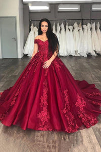 Off-Shoulder Ball Gown Burgundy Prom Dresses with Appliques D446
