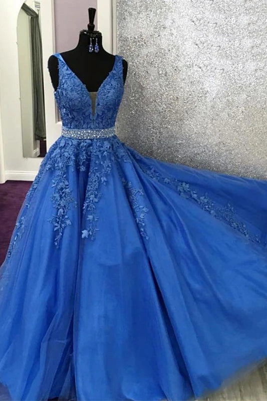 A-line V-neck Blue Appliques Long Prom Dress With Beading D444