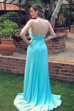 A-line V-neck Mint Blue Long Prom Dress, Backless Evening Dress With Split D441