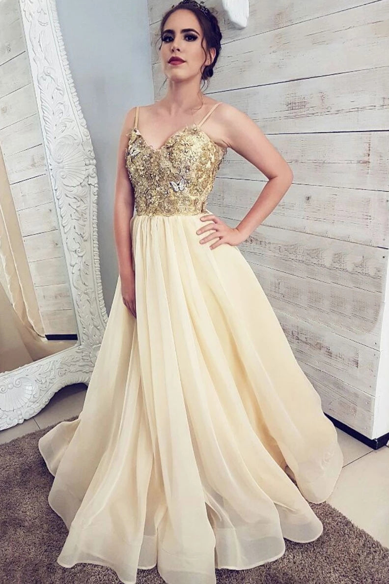 A-line Spaghetti-straps V-neck Appliques Long Prom Evening Dress D433
