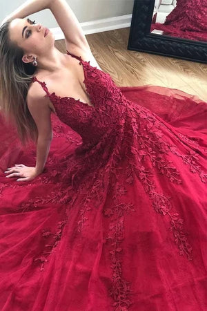 A Line V Neck Tulle Burgundy Prom Dresses With Appliques D432