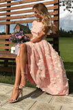 A-line Cap Sleeves 3D Floral Appliques Long Prom Dress, Party Dress M759