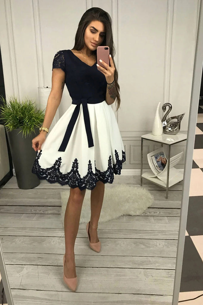 Cute A-line Lace Cap Sleeves Short Prom Dress, Homecoming Dress M760
