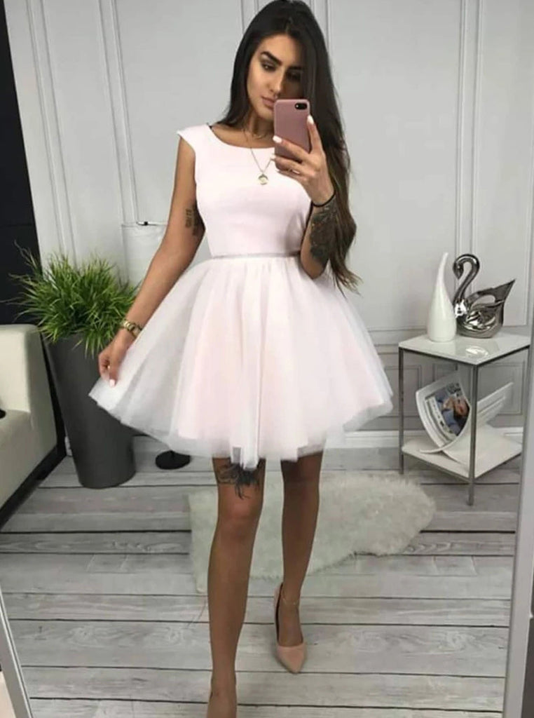 A-line Round Neck Tulle Short Prom Dress, Homecoming Dress M761