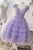 A-line Applique Lilac Tulle Short Homecoming Dress With Layered M806