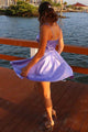 Lilac V-neck Short Prom Dresses, Simple Homecoming Dress With Pocket M803