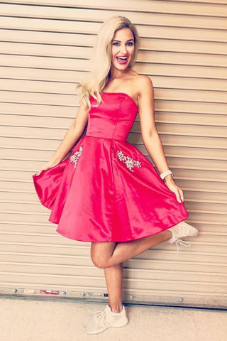 A-Line Strapless Fuchsia Short Homecoming Dress With Beaded Pockets M784
