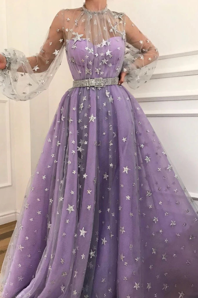 A-line Starry Night Puff Sleeves Star Beaded Long Prom Dress D413