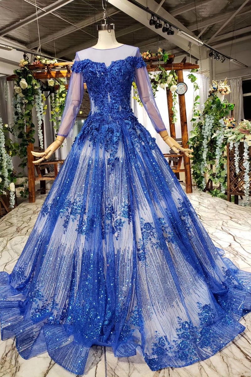 Sheer Scoop Neck Long Sleeve Ball Gown Prom Dresses With Beaded Applique D417