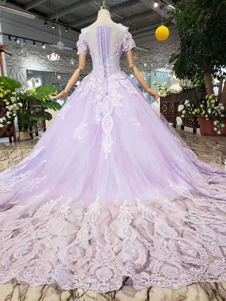 Ball Gown Short Sleeves Beaded Prom Dress, Quinceanera Gown With Appliques D416