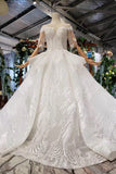 Beaded Long Ball Gown Wedding Dress, Quinceanera Dresses with Short Sleeve D415