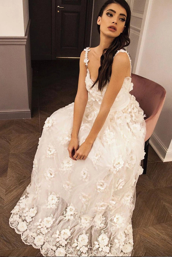 Straps Sweetheart Long Prom Dress With Lace 3D Appliques D426