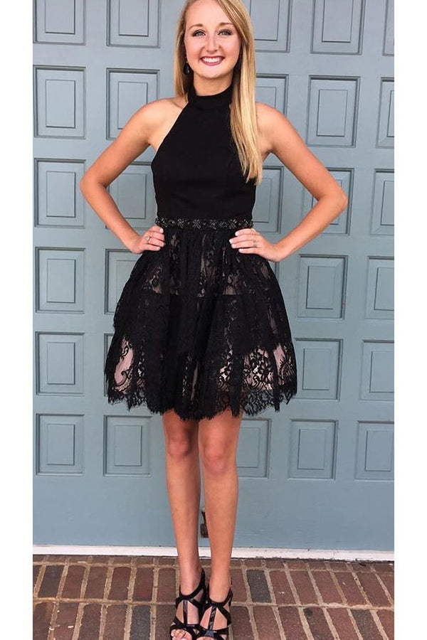 Gorgeous Black Backless With Lace Appliques Homecoming Dress M561