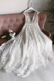 Elegant A-line V-neck Long Backless Lace Beach Wedding Dress Rustic Bridal Gowns D437