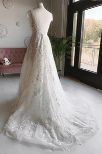 A-line V-neck Long Prom Dresses Appliques Backless Wedding Dress D437