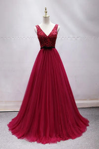 Elegant A-line V-neck Long Prom Dress Tulle Appliques Beaded Formal Dress D438