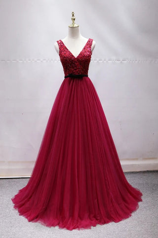 Elegant A-line V-neck Long Prom Dress Tulle Appliques Beaded Formal Dress D0438