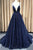 Sparkly Plunging Neckline Long Prom Dress, Glitter Backless Evening Dress D456