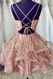 Cute Sequins Pink Homecoming Dress V-neck Beaded Short Prom Dress M802