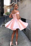 Simple Short Prom Dress A-Line Satin Off-Shoulder Homecoming Dress M816