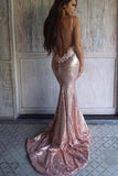 Rose Gold Sequins Mermaid Prom Dresses, Backless Evening Dress D454