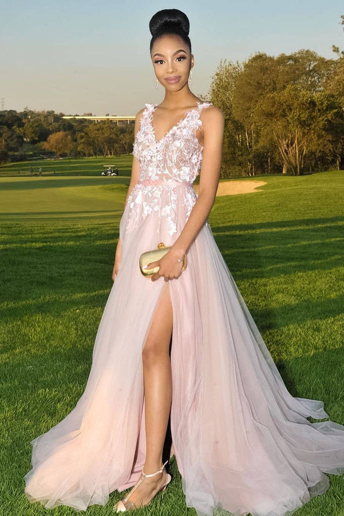 A-line V-neck Appliques Pink Long Prom Dress, Evening Dress with Split D451