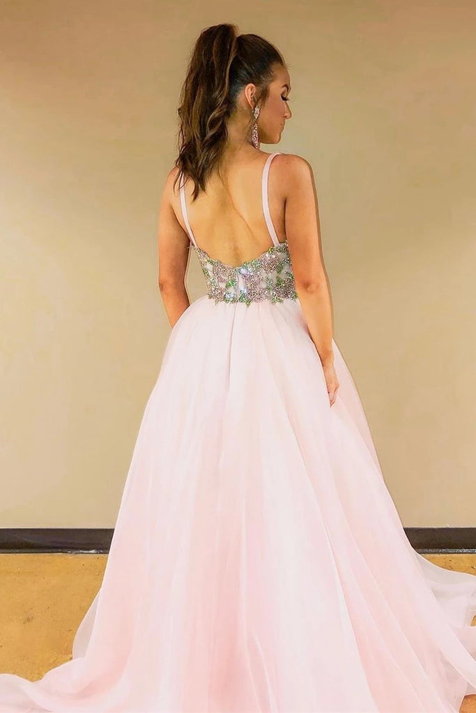 A-line V-neck Pink Long Prom Dress With Waist Beading D452