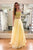 Elegant A-line Lace Appliques Two Piece Yellow Tulle Prom Dress D450