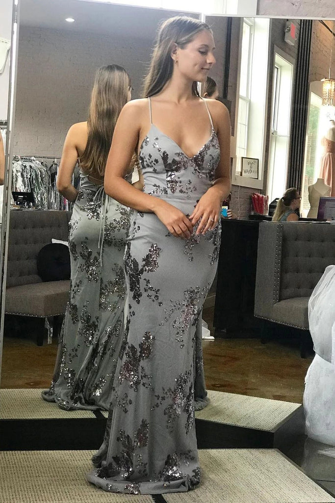 Spaghetti Mermaid Silver Prom Dress, Backless Sequins Evening Dress D453