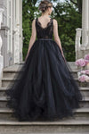 A-line V-neck Lace Tulle Long Prom Dress, Black Wedding Evening Dress D458