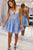 Spaghetti Straps V-neck Appliques Short Prom Dress, Backless Homecoming Dress M781
