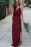 Chic Burgundy Spaghetti Straps Chiffon With Split Side Bridesmaid Dress B386