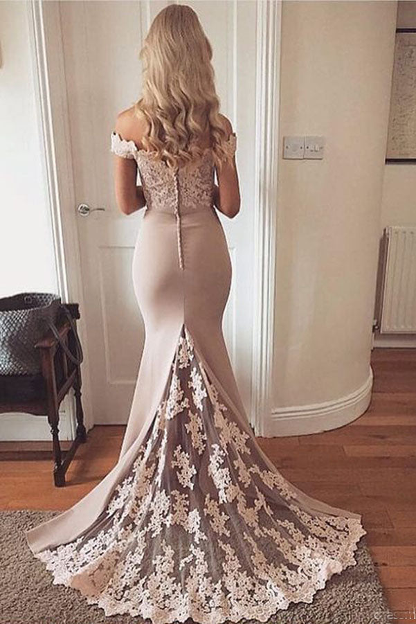 Gorgeous Off the Shoulder With Lace Appliques Prom Dresses P639