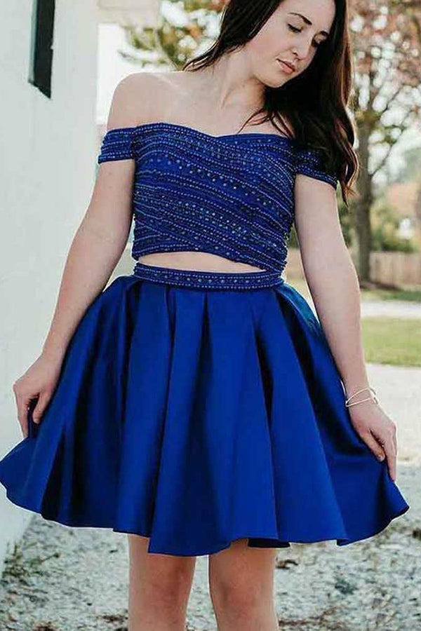 Elegant Off the Shoulder Two Piece With Beaded Homecoming Dress M564