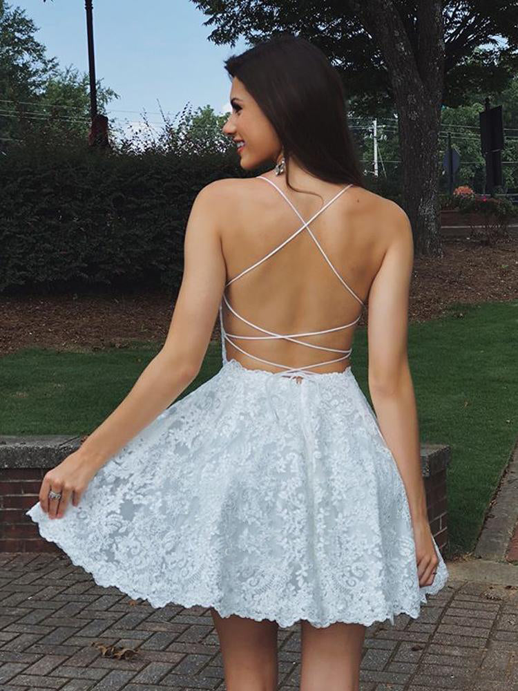 Delicate Lace Backless Spaghetti Straps Homecoming Dress M584