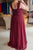 Simple Deep V Neck Lace Appliques Sleeveless Bridesmaid Dress B392