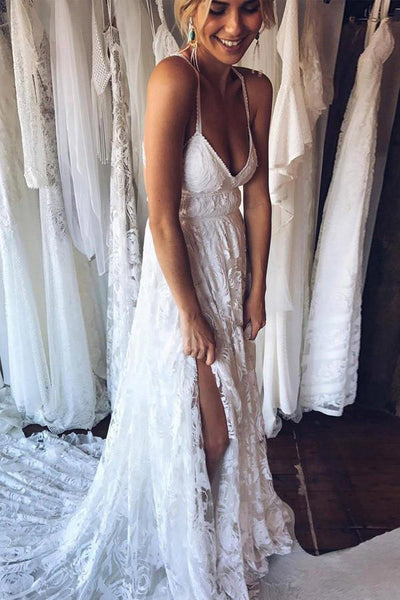 A Line Court Train Halter Sleeveless Backless Side Slit Cheap Wedding Gown,Beach Wedding Dress W159 - Ombreprom