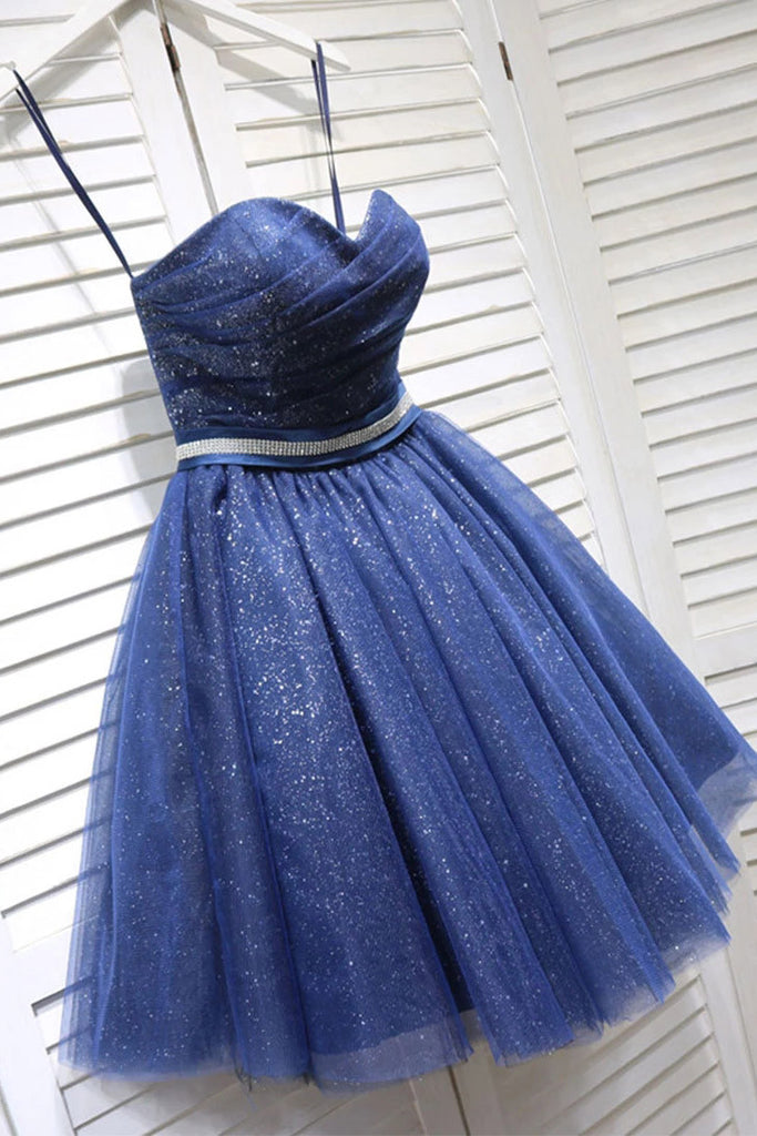 Glitter Sweetheart Blue Short Prom Homecoming Dress With Beading M767