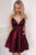 A-line V-neck Burgundy Satin Short Homecoming Dress with Pockets M768