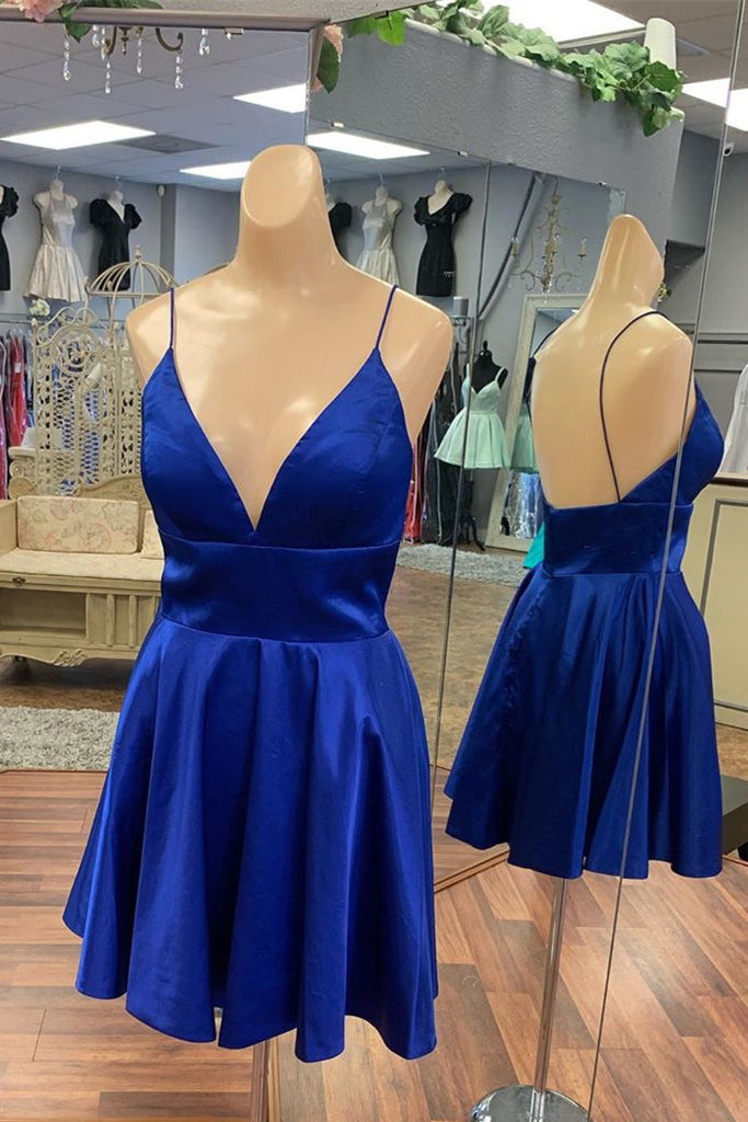 Royal Blue Satin Homecoming Dress Backless Simple Short Prom Dress M765