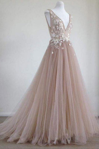 Charming Tulle V-neck Neckline Chapel Train A-line With Applique Prom Dresses P608 - Ombreprom