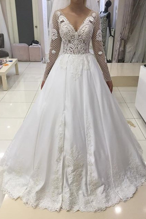 Elegant Long Sleeves A Line Satin Ball Gown Lace Wedding Dresses W512
