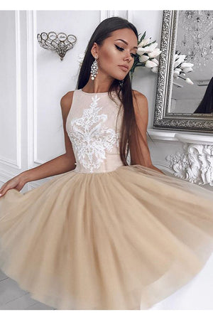 Charming Sleeveless Round Neck With Appliques Homecoming Dress M565 - Ombreprom