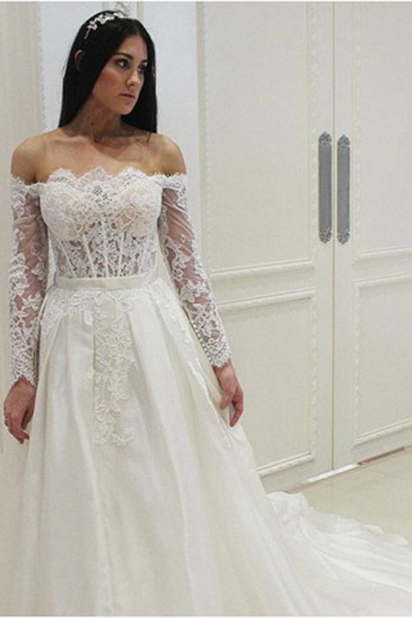 Elegant Off the Shoulder Lace Long Sleeves Wedding Dresses W338