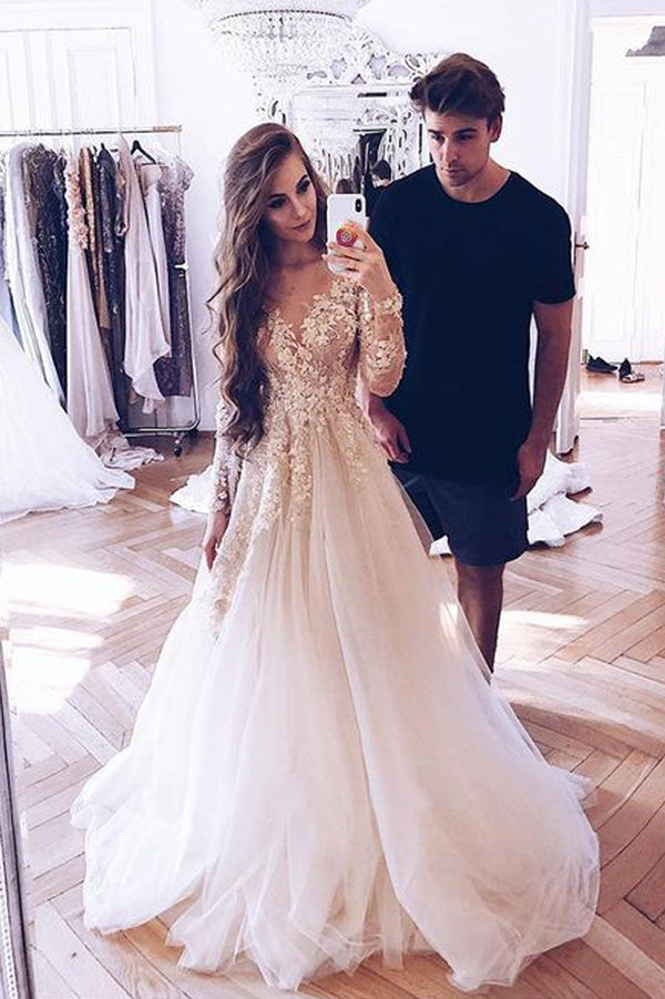 Elegant Long Sleeves A Line Tulle With Appliques Wedding Gown Wedding Dress W404