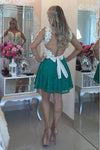 Sexy Deep V Neck Sheer Tulle Homecoming Dresses, Long Sleeve Short Prom Dress HCD113 - Ombreprom