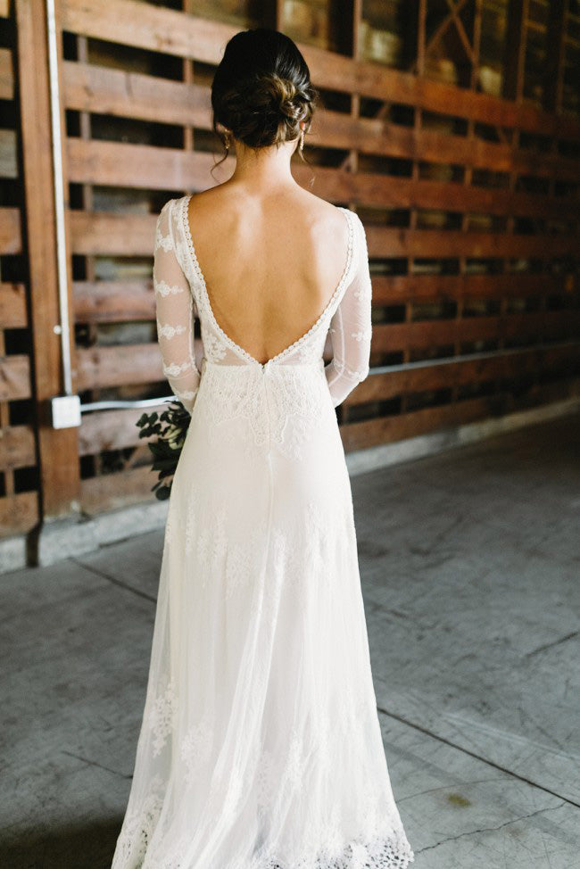 Beautiful A Line Off The Shoulder Classy Ivory Lace Long Beach Wedding Dresses W800