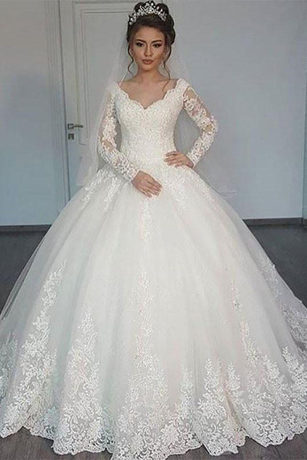 Romantic Lace Appliques V Neck Long Sleeves Ball Gown Wedding Dresses W374